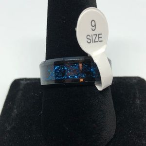 Blue Sparkly Black SS Unisex Band Ring